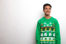 man in an ugly Christmas sweater