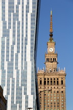 Soviet and modern building side by side