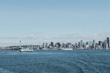 ferry and NY city skyline