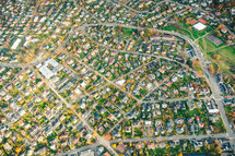 aerial view over a community