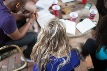 praying and reading Bibles at a Bible study