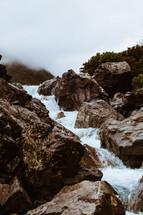 water rushing down rocks