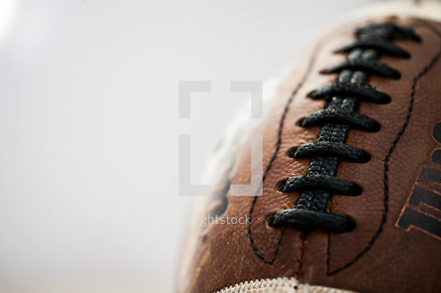 Close-up of a leather football.