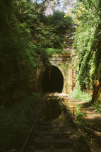 old train tracks and tunnel