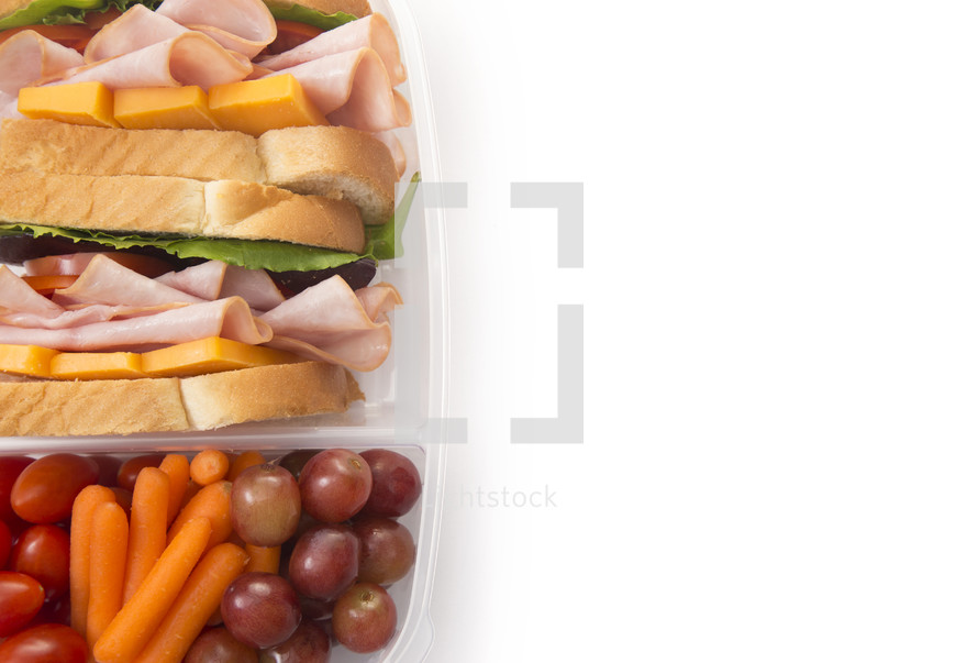 Healthy Packed Lunch of Ham Sandwich and Veggies