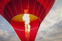 The flame from a hot air balloon
