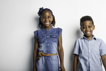 portrait of kids against a white background