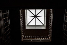looking up through a stairwell