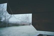 spiderweb on a porch