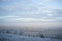 frost on a winter hill