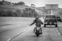 biker changing lanes