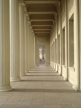 arcade in sunlight,  arcade, colonnade, iteration, repetition, pillar, portico, cloister, column, shaft, multiple, various, several, revision, repeat, replication, sunlight, shadow, long, wide, outlook, perspective, angle, shadow play, depth, deep, path, way, lane, distance, walk, aim, goal, purpose, finish, designation