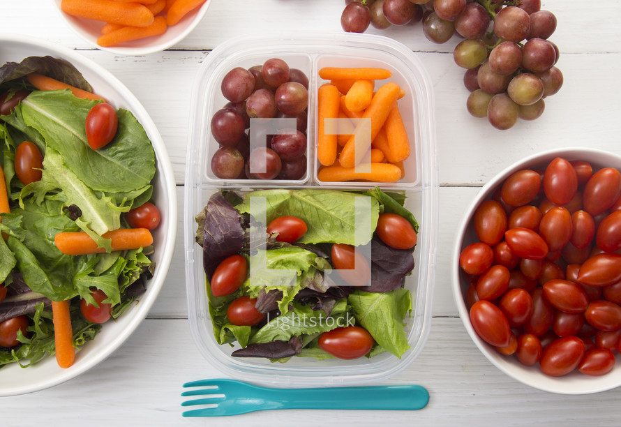 Healthy Packed Lunch and salads