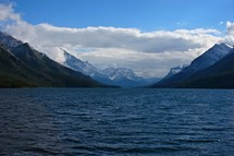 snow capped mountains and lake