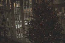 A decorated Christmas tree in front of windows