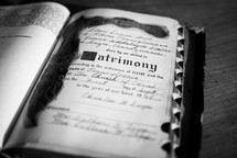 Matrimony record in an old Bible