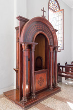 A confessional in a Catholic church