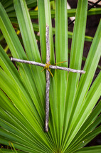 cross made from sticks in a palm frond