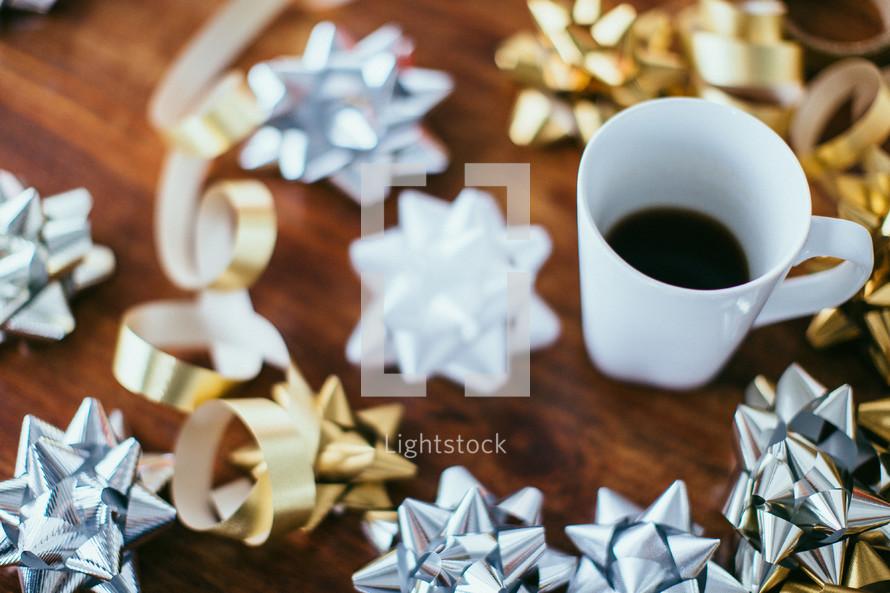 Christmas bows and coffee mug