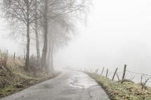 a narrow rural road in fog