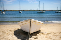 boat beached in sand