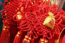 Red and yellow Chinese Lunar New Year decorations.