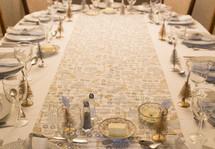 table set for a Christmas dinner
