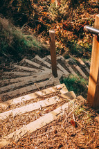 spiraled wooden steps outdoors