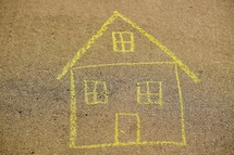 sidewalk chalk drawing of a house