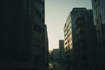 city streets at dusk