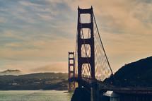 The Golden Gate Bridge over the San Francisco Bay.