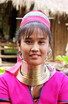cultural traditions - woman with rings around her neck