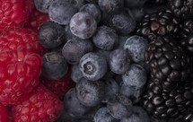 raspberries, blueberries, and blackberries