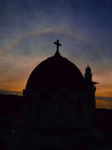 silhouette of a church dome in Jerusalem