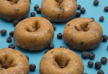 blueberry cake donuts on blue