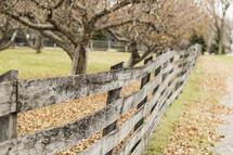 fence line on a farm