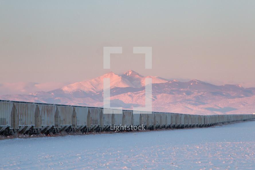 train and winter scene