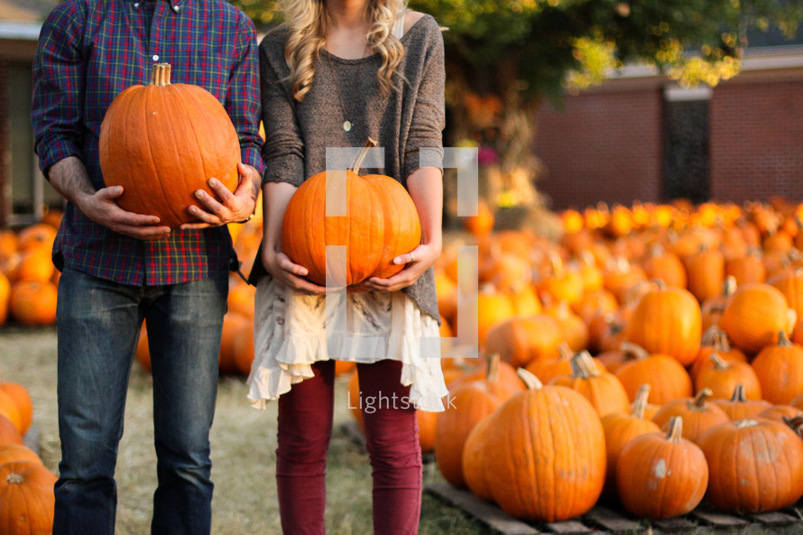 a couple standing holding pumpkins in a pumpkin patch