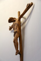 A carved wooden crucifix.