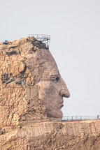 head carved into a mountain