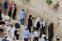 Men praying at the Western or Wailing Wall