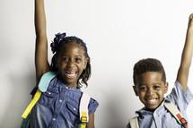 kids celebrating going back to school