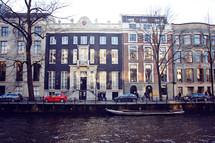 row houses along a canal