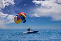 Parasailing in the ocean.