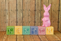 Easter sign of wood blocks and bunny