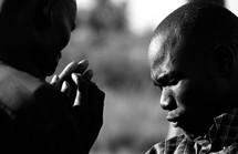 Men in fervent prayer