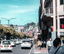 pedestrians on a busy city sidewalk