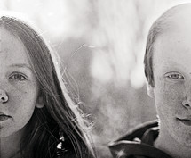 twins, siblings, brother, sister, fraternal twins, freckles, teen, child, outdoors, faces