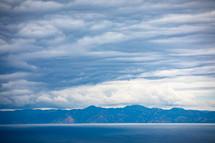 mountainous shoreline