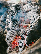 coals and embers from a burning fire